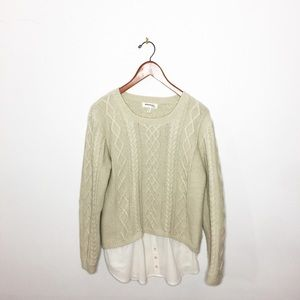 Monteau Camel Sweater with Button Down.